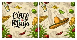 Литерность безшовные мексиканская кухня картины и почерк Cinco de Mayo бесплатная иллюстрация