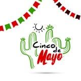 Cinco De Mayo с кактусом Стоковая Фотография