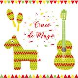 cinco de mayo 贺卡的传染媒介例证 多彩多姿的吉他、驴、maracas和题字在中 免版税库存图片