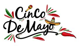 Cinco de Mayo. Sign vector drawing on a white background stock image