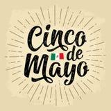 Литерность Cinco de Mayo Иллюстрация вектора винтажная гравируя иллюстрация штока