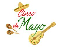 Cinco de Mayo calligraphy lettering text with sombrero, guitar and maracas - symbols of holiday. May 5th Cinco de Mayo vector banner illustration. Mexican stock illustration