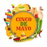 Cinco de Mayo-affiche met Mexicaanse vakantiesymbolen