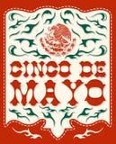 Cinco De Mayo - affiche mexicaine de vecteur de vacances illustration stock