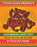 Cinco De Mayo-affichemalplaatje met hand het getrokken van letters voorzien, royalty-vrije illustratie