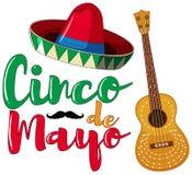 Cinco de Mayo-afficheontwerp met hoed en gitaar