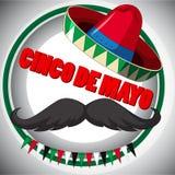 Cinco de Mayo-afficheontwerp met snor en hoed