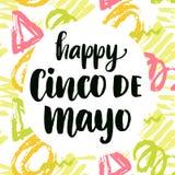 Cinco de Mayo affisch med skriftlig modern kalligrafi för hand Arkivbild