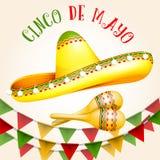 Cinco de Mayo affisch med sombreron och maracas vektor illustrationer