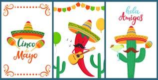 cinco de mayo Amis de Hola Lettrage tir? par la main Un ensemble d'affiches de fête aux vacances nationales mexicaines Poivre de  illustration stock