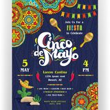 Cinco De Mayo announcing poster template. Text customized for invitation for fiesta party. Creative lettering, maracas and cactus in sombrero. Mexican style Stock Photo