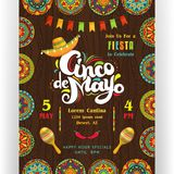 Cinco De Mayo announcing poster template. Text customized for invitation for fiesta party. Creative lettering, sombrero and maracas. Mexican style ornaments for
