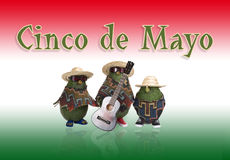 Cinco de Mayo - Avocados. Three avocados dressed in straw hats, colorful ponchos, sunglasses, and one avocado holding an acoustic guitar. Background is red vector illustration