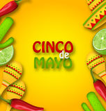 Cinco De Mayo Background with Mexican Traditional Symbols. Illustration Cinco De Mayo Background with Mexican Traditional Symbols. Chili Pepper, Sombrero Hat