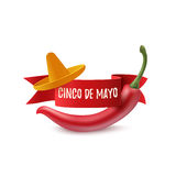 Cinco de Mayo background template. Cinco de Mayo background template with red ribbon, sombrero and red chili pepper, isolated on white background. Vector Stock Image