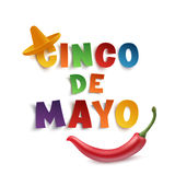 Cinco de Mayo background. Cinco de Mayo background template with sombrero and red chili pepper,  on white background. Vector illustration Stock Image