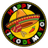 Cinco De Mayo Badge. A colorful illustration in celebration of the Mexican holiday Cinco De Mayo
