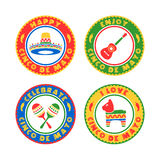 Cinco De Mayo Badges. A colorful set of badge illustrations in celebration of the Mexican holiday Cinco De Mayo