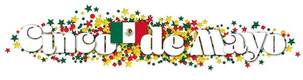Cinco De Mayo Banner Confetti. Red White Green Mexican Flag Happy Celebrate Party Invitation vector illustration