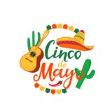 Cinco de Mayo banner. Hand drawn lettering. 5th of May. Festive mexican advertising poster. Sombrero, Guitarron, cactus, chili. Pepper royalty free illustration