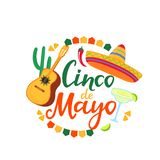 Cinco de Mayo banner. Hand drawn lettering. 5th of May. Festive mexican banner. Guitar, Margarita, Sombrero.  royalty free illustration