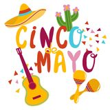 Cinco De Mayo banner lettering design. Cinco De Mayo hand drawn lettering design vector illustration perfect for advertising, poster, announcement, invitation Royalty Free Stock Images