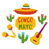 Cinco De Mayo banner lettering design. Cinco De Mayo hand drawn lettering design vector illustration perfect for advertising, poster, announcement, invitation Stock Images