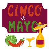 Cinco De Mayo banner lettering design. Cinco De Mayo hand drawn lettering design vector illustration perfect for advertising, poster, announcement, invitation Stock Image