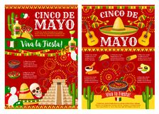 Cinco de Mayo banner for mexican holiday party. Cinco de Mayo Viva la Fiesta banner template for mexican holiday party. Festive sombrero, maracas and chili stock illustration