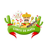 Cinco De Mayo Banner with Mexican Symbols and Objects. Illustration Cinco De Mayo Banner with Mexican Symbols and Objects, Ribbon, Colorful Icons - Vector Stock Photo