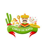 Cinco De Mayo Banner with Mexican Symbols and Objects. Illustration Cinco De Mayo Banner with Mexican Symbols and Objects, Ribbon, Colorful Icons - Vector Royalty Free Stock Photos