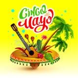 Cinco De Mayo Banner De van letters voorziende kaart van de tekstgroet Stock Afbeeldingen