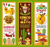 Vector banners for Cinco de Mayo Mexican holiday. Cinco de Mayo banners for Mexican national holiday celebration. Vector design for fiesta party of Mexico Royalty Free Stock Photos