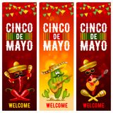 Cinco de Mayo banners set. With cactus in sombrero, red peppers jalapeno and with maracas and guitar - symbols of holiday. Vector illustration