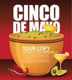 Cinco De Mayo big bowl of guacamole background EPS 10 vector. Royalty free stock illustration for greeting card, ad, promotion, poster, flier, blog, article Royalty Free Stock Photos