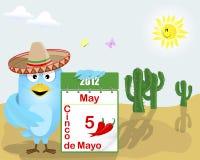 Cinco de Mayo. Blue Bird with a calendar. stock illustration