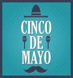 Cinco De Mayo blue retro poster Stock Photos