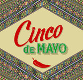 Cinco De Mayo bokstäverdesign på en etnisk bakgrund Arkivbilder
