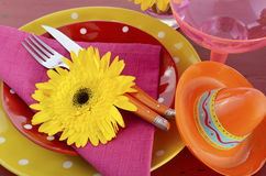 Cinco de Mayo bright colorful party table place setting Stock Photo