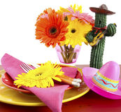 Cinco de Mayo bright colorful party table place setting Stock Photography