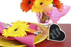 Cinco de Mayo bright colorful party table place setting Royalty Free Stock Images