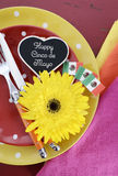 Cinco de Mayo bright colorful party table place setting Royalty Free Stock Photos