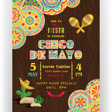 Cinco De Mayo bright poster template. Text customized for invitation for fiesta party. Ornate text and Mexican attributes. Colorful elements at dark ornament stock illustration