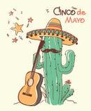 Cinco de mayo Cactus and the guitar.Vector color illustration. Cinco de mayo Cactus and the guitar.Vector color hand drawn illustration