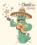 Cinco de mayo Cactus playing the guitar.Vector color illustratio. Cinco de mayo Cactus playing the guitar.Vector color hand drawn illustration