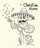 Cinco de mayo Cactus playing the guitar.Vector illustration. Cinco de mayo Cactus playing the guitar.Vector hand drawn illustration