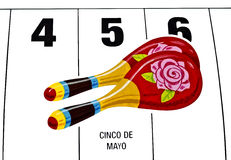 Cinco de Mayo Calendar. With marachas royalty free stock images