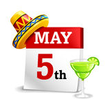 Cinco De Mayo Calendar Icon Royaltyfri Bild