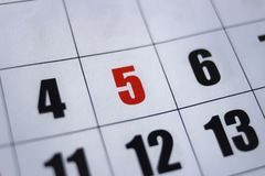 Cinco de Mayo Calendar on Numerical Calendar - number royalty free stock photo