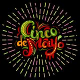 Cinco De Mayo card with bright ornate letters. Greeting lettering with abstract Mexican style ornament. Colorful sun burst effect and black background. Vector
